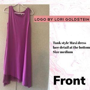 LOGO by Lori Goldstein Lace trim dress size Medium